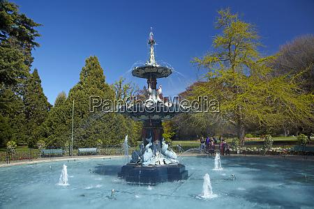 peacock fountain botanic gardens christchurch canterbury