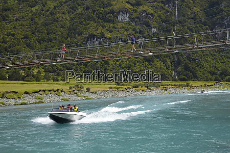 jet boat and people on suspension