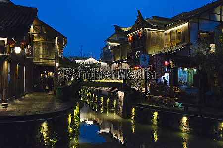night view of traditional houses along