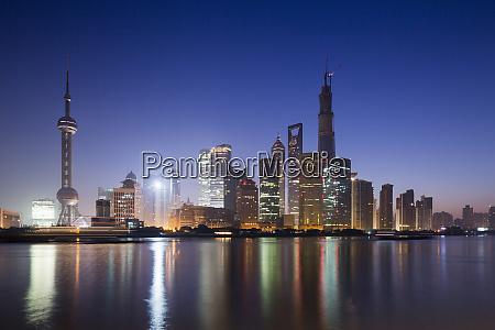 china shanghai glow of twilight behind