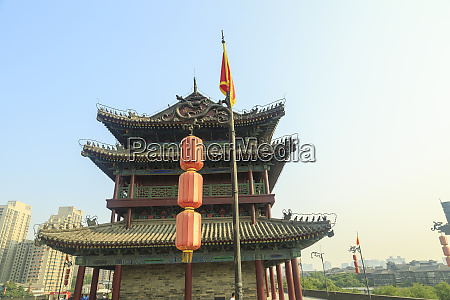 views from atop city wall xian