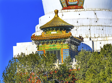 white stupa colorful memorial beihai park