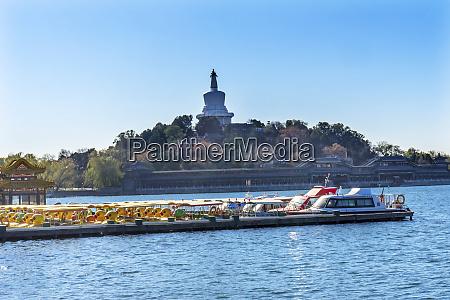 buddhist stupa boats beihai lake park