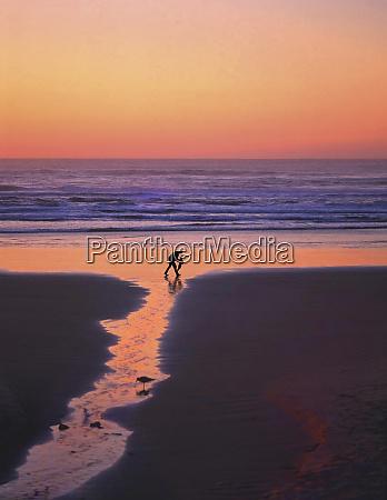 usa oregon cannon beach father and