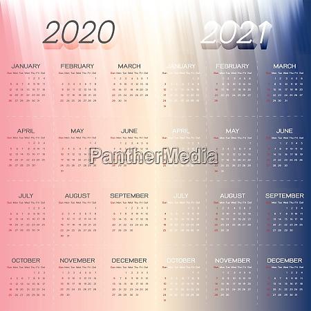 created year calendar 2020 and 2021