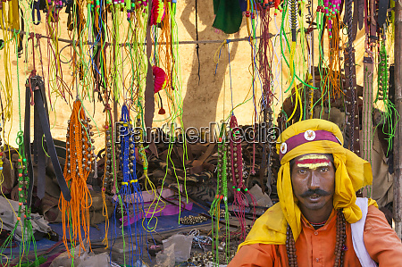 jewelry seller at market rajasthan india