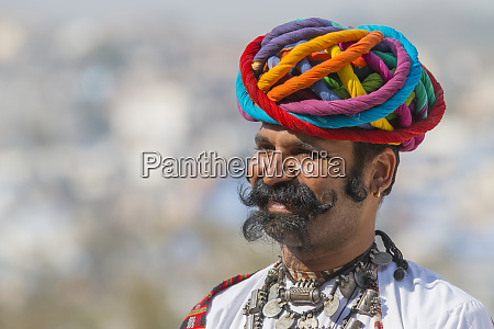 man with moustache and turban jodhpur