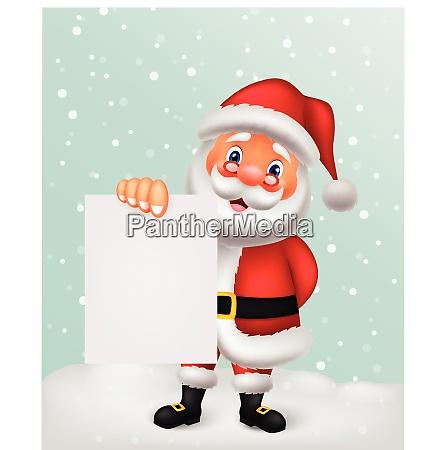 santa clause cartoon holding blank sign