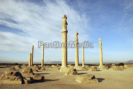 iran fars province apadana columns ruined