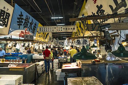 tokyo japan fish mongers buy prepare