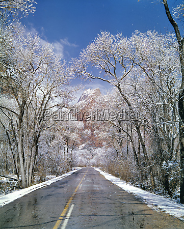 usa utah zion np snow melts