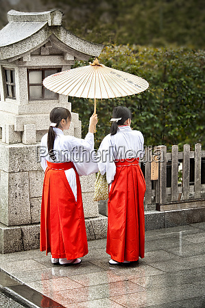 young japanese girls in red