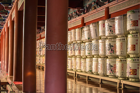 containers of sake rice wine for