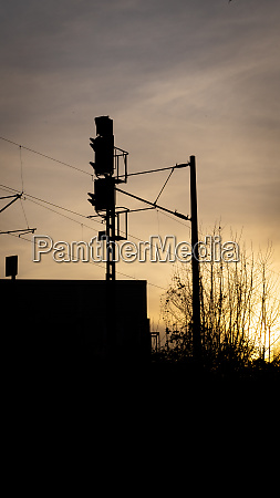 train signal in the evening backlight