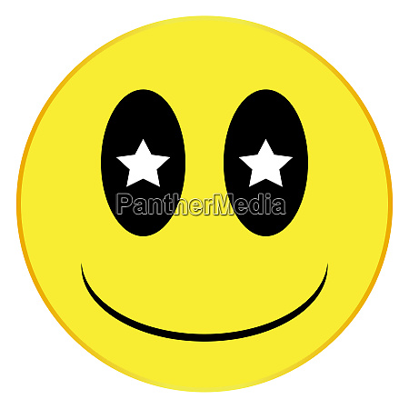 starry eyed smile face button isolated