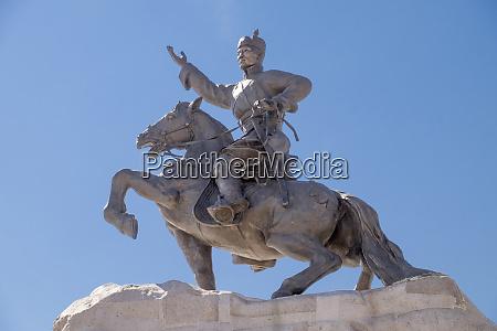 mongolia ulaanbaatar statue of mongolian revolutionary