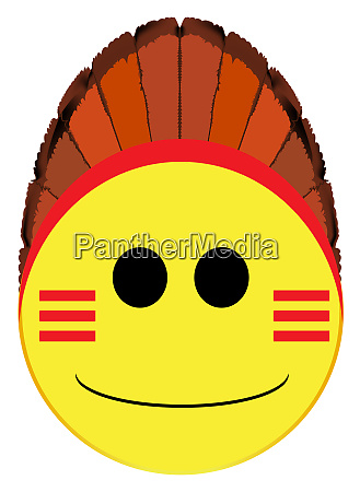 american indian smile face button isolated