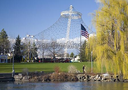wa spokane riverfront park view across
