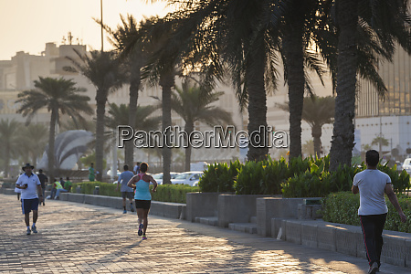 qatar doha joggers on the corniche