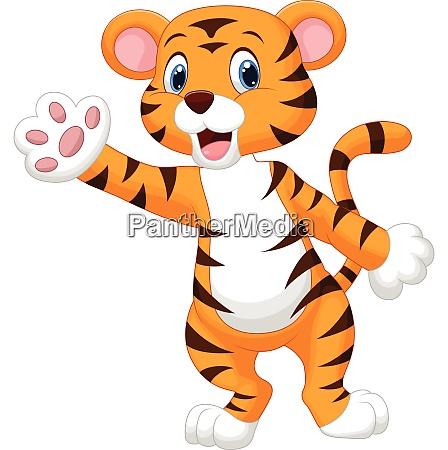 cute tiger waving hand