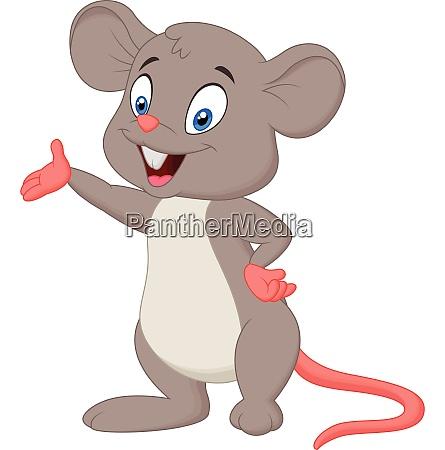 cute mouse cartoon presenting