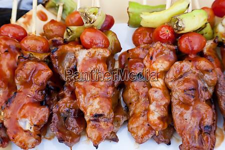 chicken kebabs weekend market bangkok thailand
