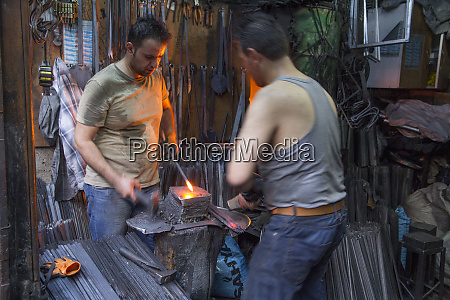 turkey gaziantep blacksmiths pounding metal into
