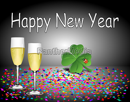 silver happy new year card