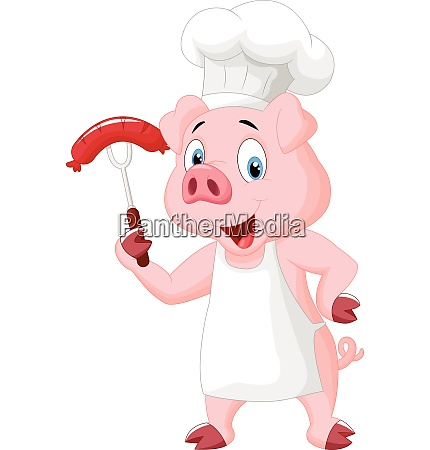 pig chef cartoon with sausage