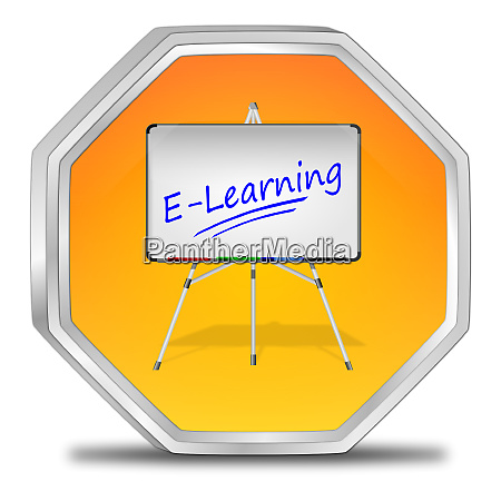 orange e learning button 3d