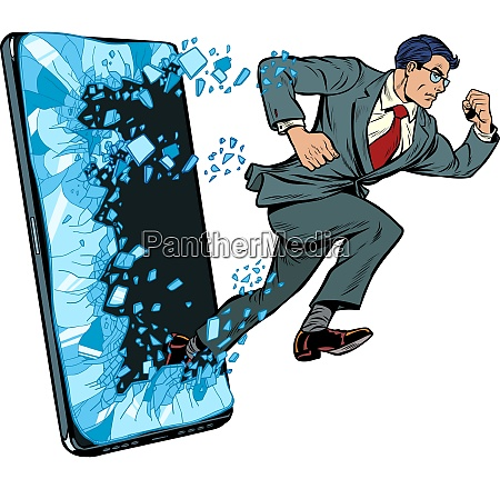 businessman punches the screen phone gadget