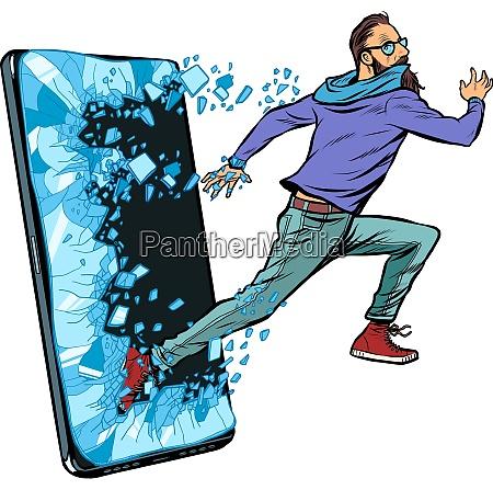 hipster man running phone gadget smartphone