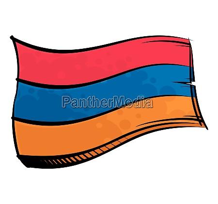 painted armenia flag waving in wind
