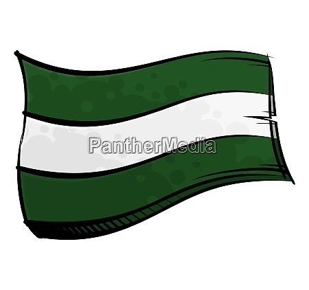 painted andalusia flag waving in wind