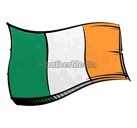 painted ireland flag waving in wind