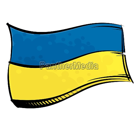 painted ukraine flag waving in wind