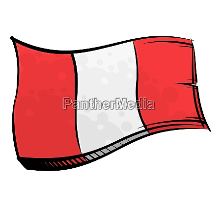 painted peru flag waving in wind