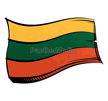 painted lithuania flag waving in wind
