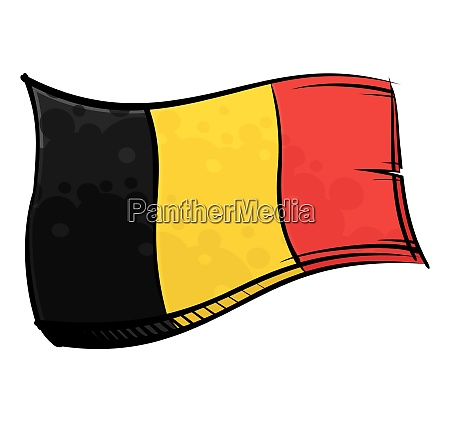 painted belgium flag waving in wind