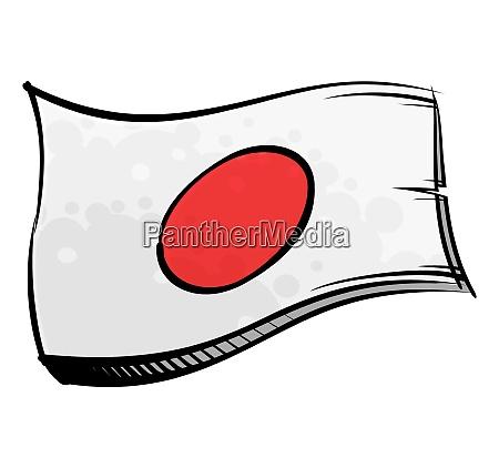 painted japan flag waving in wind