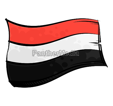 painted yemen flag waving in wind