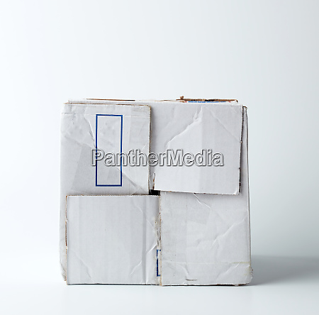 white crumpled cardboard box with a