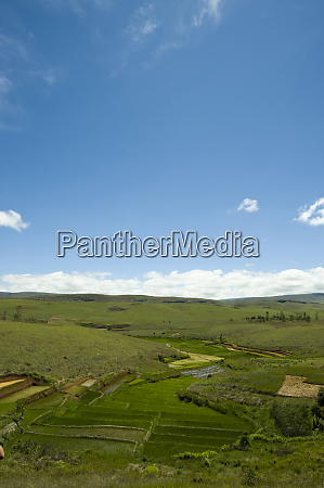 inland madagascar landscape of hills and