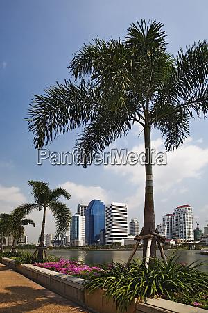 modern bangkok skyline from queen sirikit