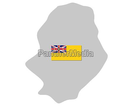 fahne und landkarte von niue