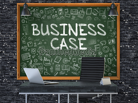 business case concept doodle icons on
