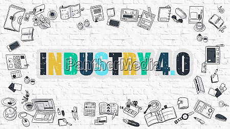multicolor industry 40 on white brickwall