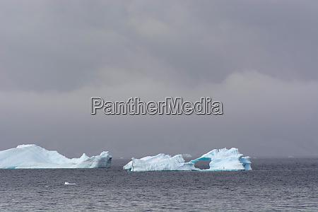antarctica gerlache strait icebergs and stormy