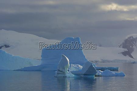 antarctica gerlache strait iceberg and cloudy