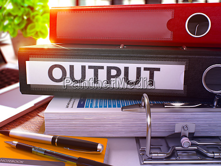 output on black office folder toned